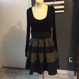 Voom joy Jan black & brown bubble tiered dress s